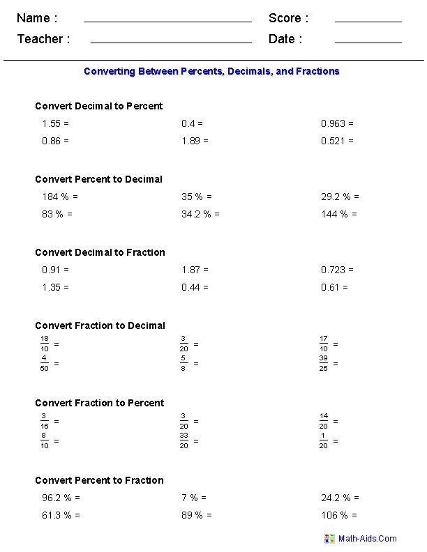Converting Between Percents  Decimals  And Fractions Worksheets In