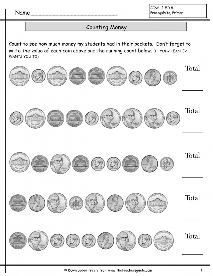 Counting Coins Worksheets From The Teachers Guide