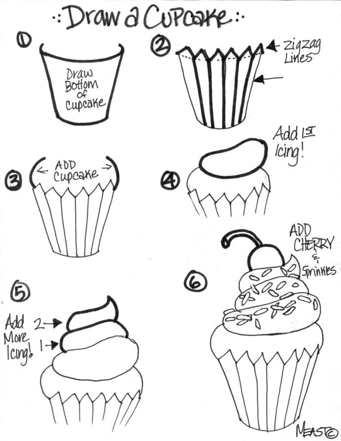 Cupcake Draw Step By Create Art With First Week Of School Projects