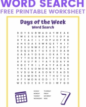 days of the week word search 9