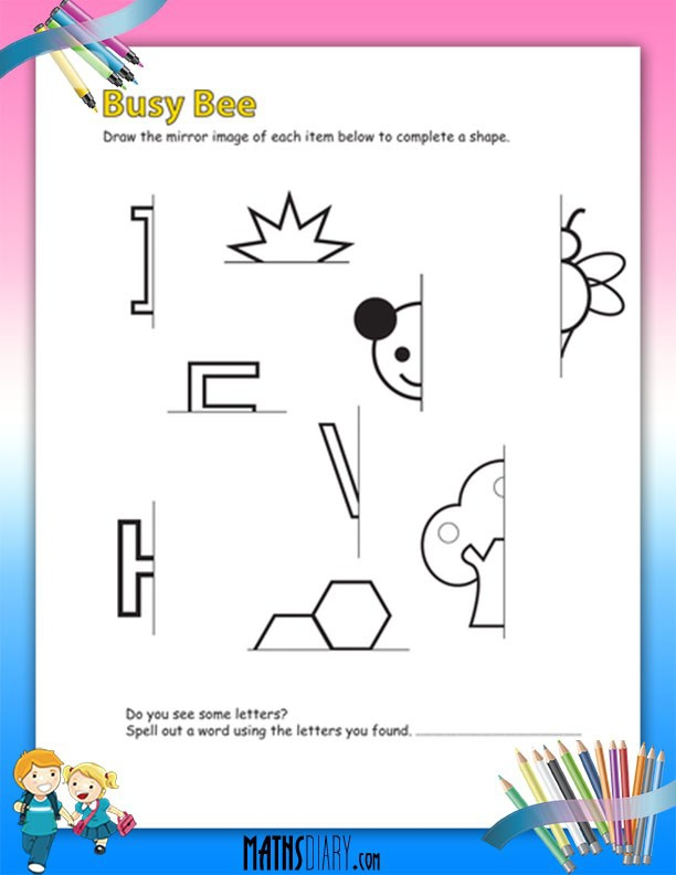 Drawing Mirror Images Worksheets