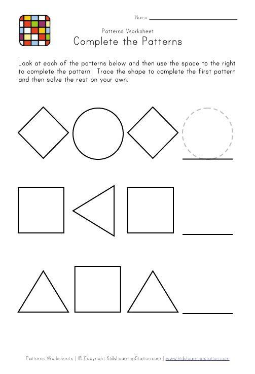 Easy Preschool Patterns Worksheet
