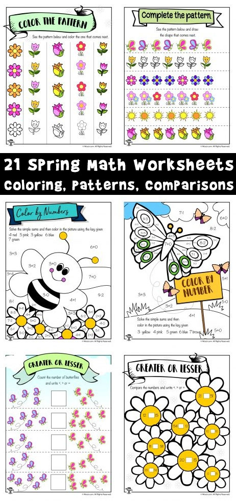 Easy Spring Math Worksheets Math Coloring  Greater Than  Less