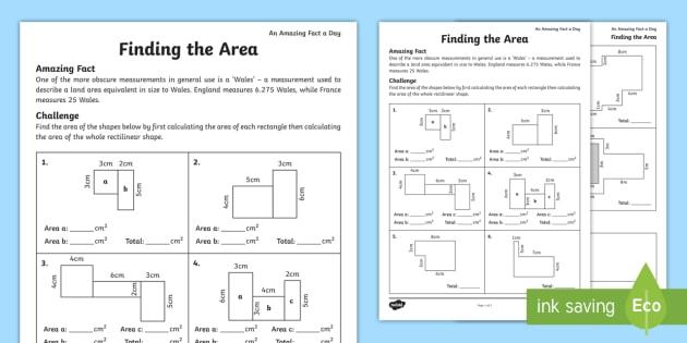 Finding The Area Ks Worksheet Teacher Made