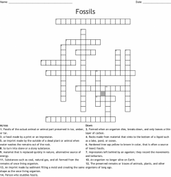 Extinct Animals And Fossils Crossword