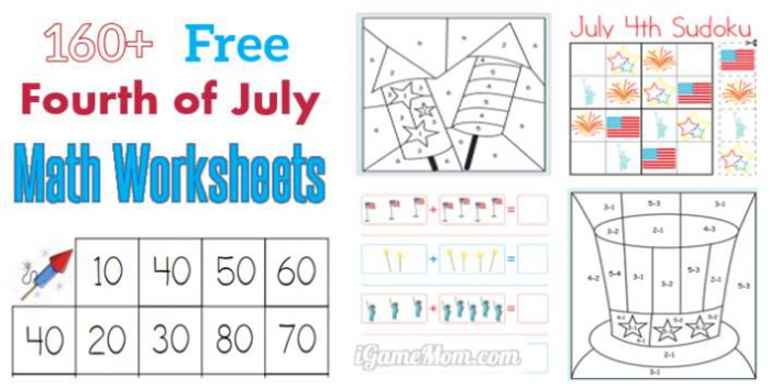 Fourth Of July Printable Math Worksheets
