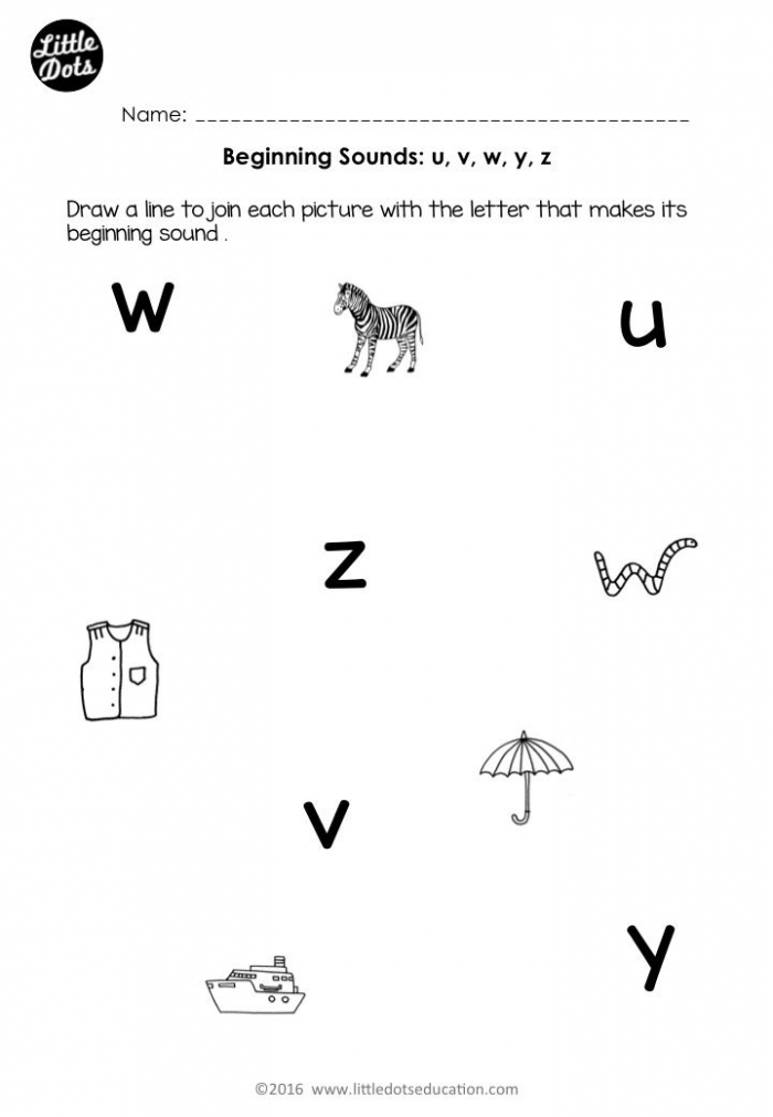 Free Beginning Sounds Worksheets For Letters U  V  W  X  Y And Z