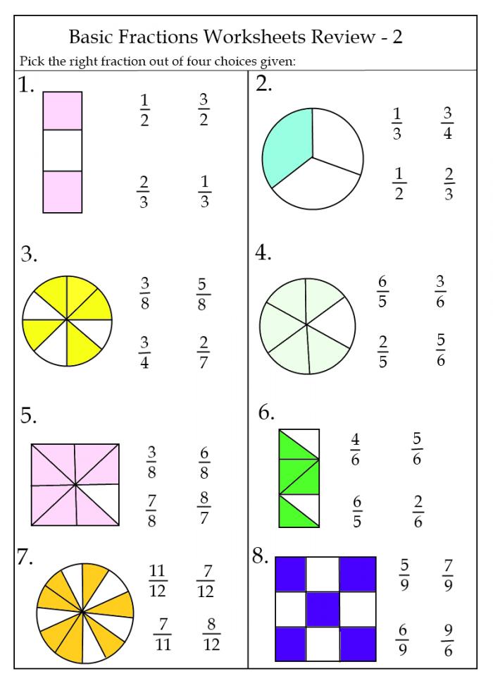 Free Fraction Worksheets Printable I