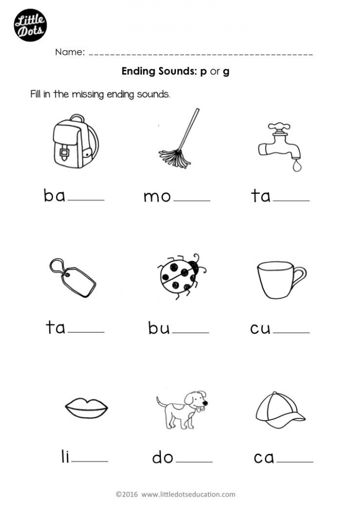 Free Preschool Phonics Ending Sounds P And G Worksheet For