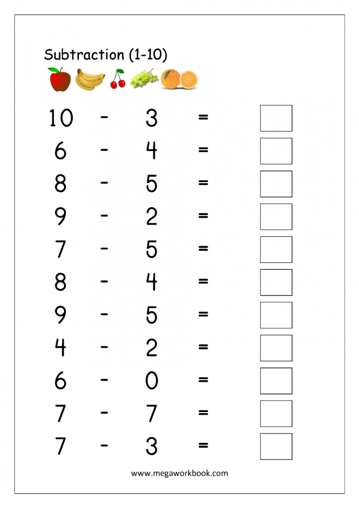 Free Printable Number Subtraction