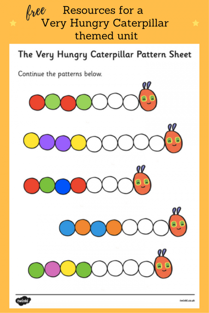Free Very Hungry Caterpillar Color Pattern Sheet Find Lots Of