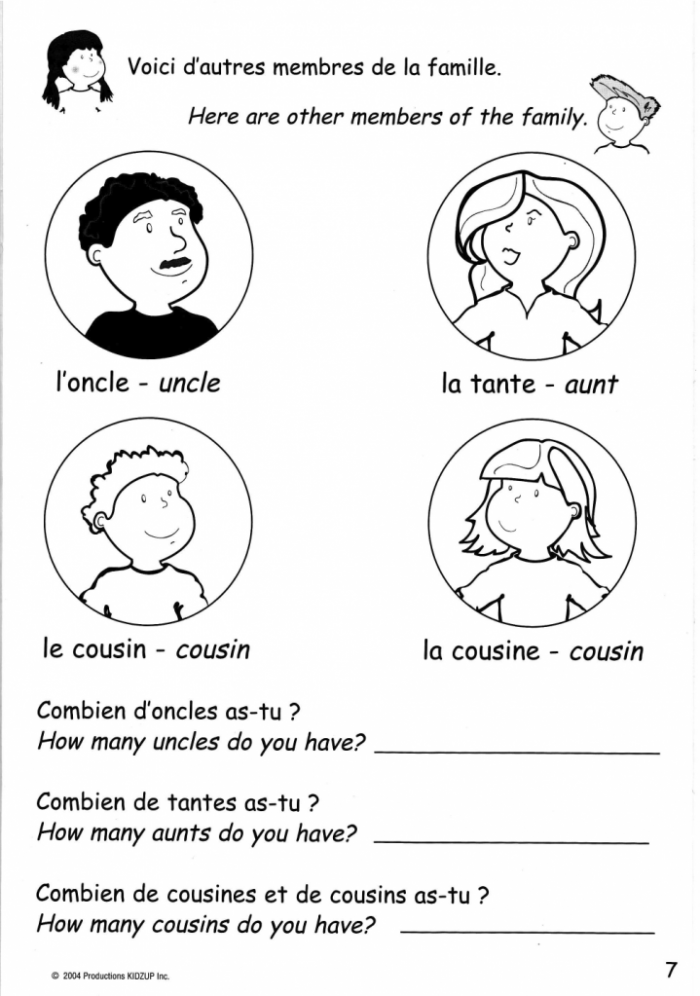 French Family Printable