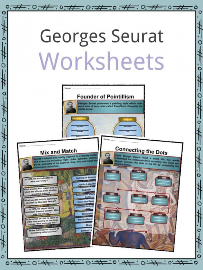 Georges Seurat Facts  Worksheets  Pointillism  Painting   Career