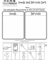goods and services sorting activity worksheet for kindergarten 9