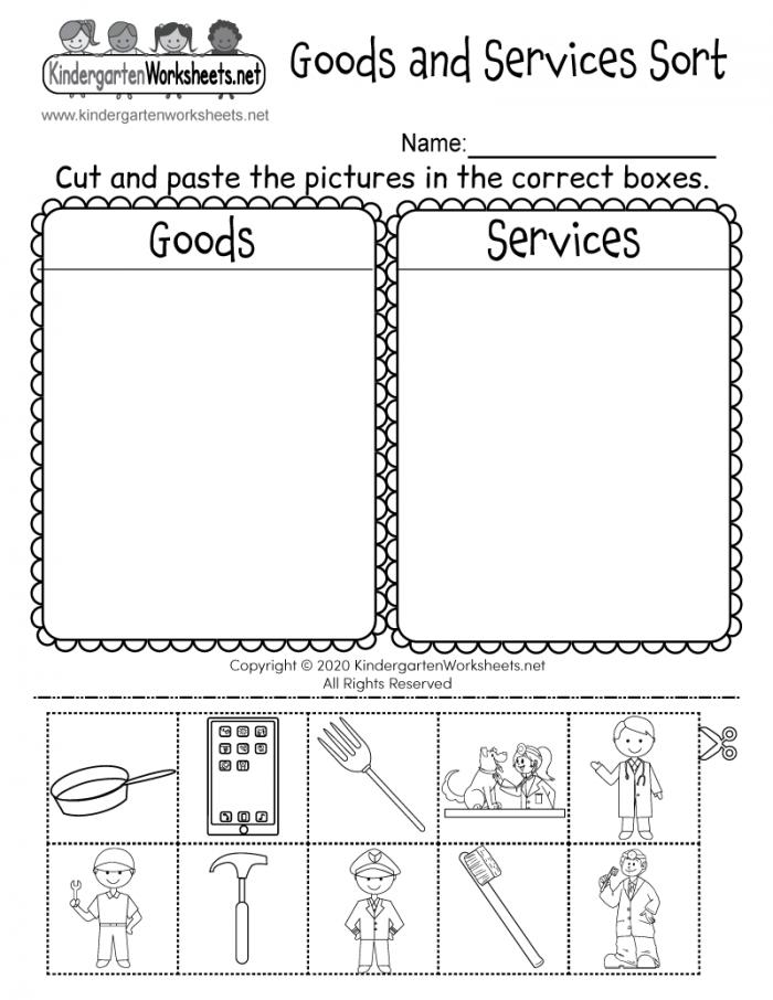 Goods And Services Sorting Activity Worksheet For Kindergarten