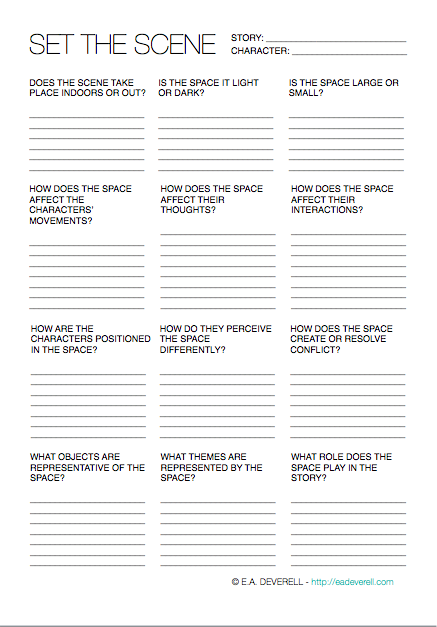 How To Develop The Setting Of A Story Worksheet