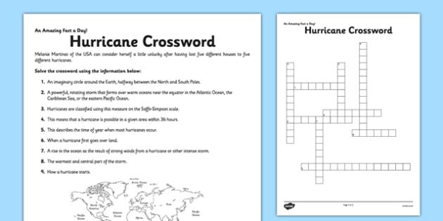 Hurricane Crossword Worksheet Teacher Made Worksheets For First