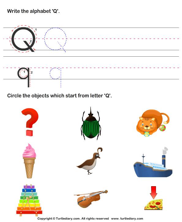 Identify Words That Start With Q Worksheet