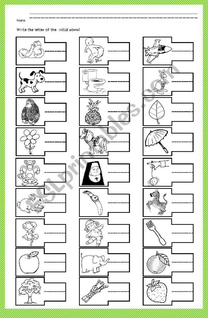 Initial Sound Phonics A To Z