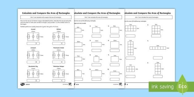 Ks Area Of A Rectangle Differentiated Worksheets