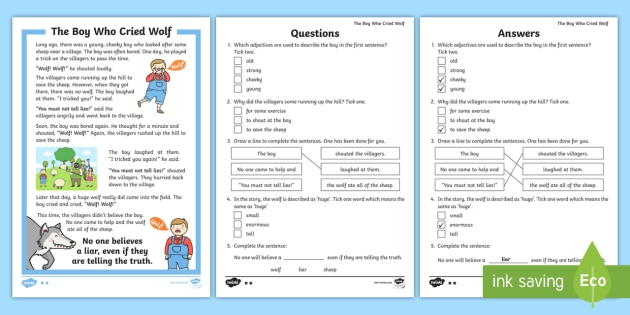 Ks The Boy Who Cried Wolf Differentiated Reading Comprehension