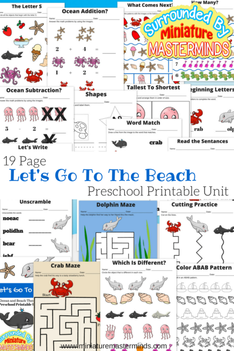 Lets Go To The Beach Free  Page Preschool Ocean And Beach