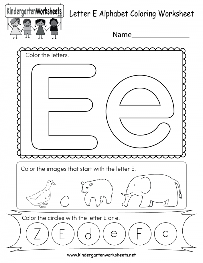 Letter E Coloring Worksheet