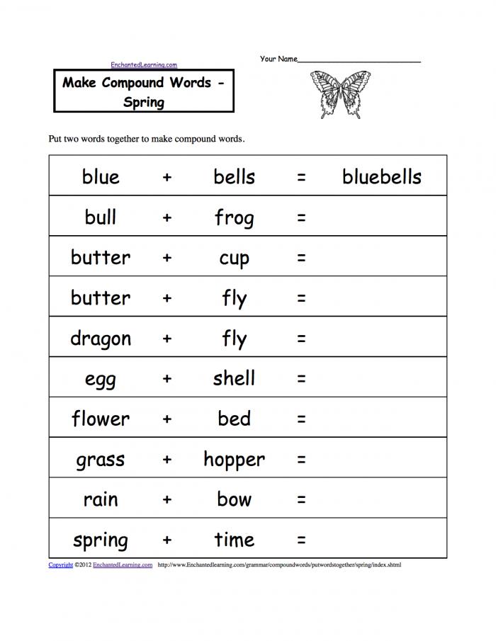 Make Compound Words  Printable Worksheets Enchantedlearningcom