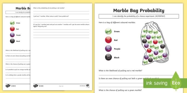 Marble Bag Probability Worksheets