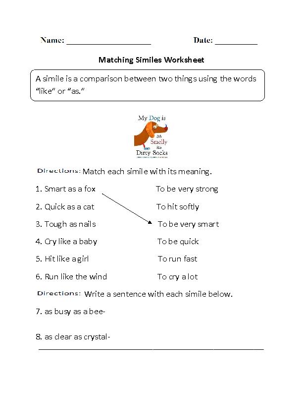 Matching Similes Worksheet