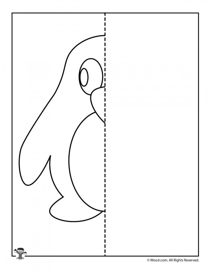 Penguin Symmetry Drawing Worksheet