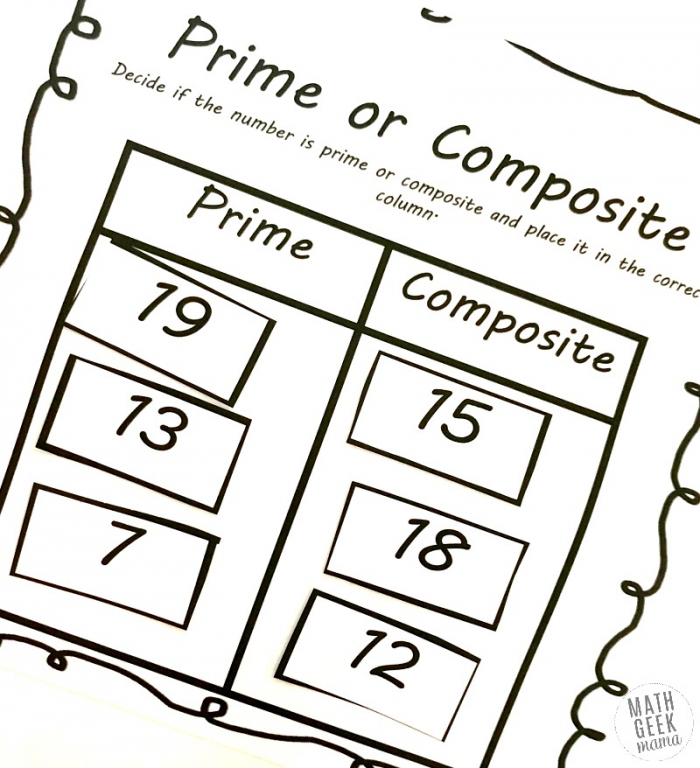 Prime And Composite Numbers Worksheets Free Activity Pack