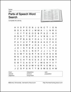 Parts Of Speech Word Hunt