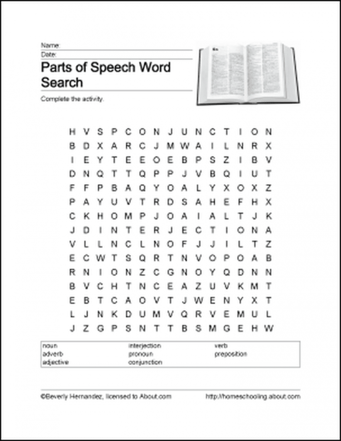 Printable Activities For Learning The Parts Of Speech