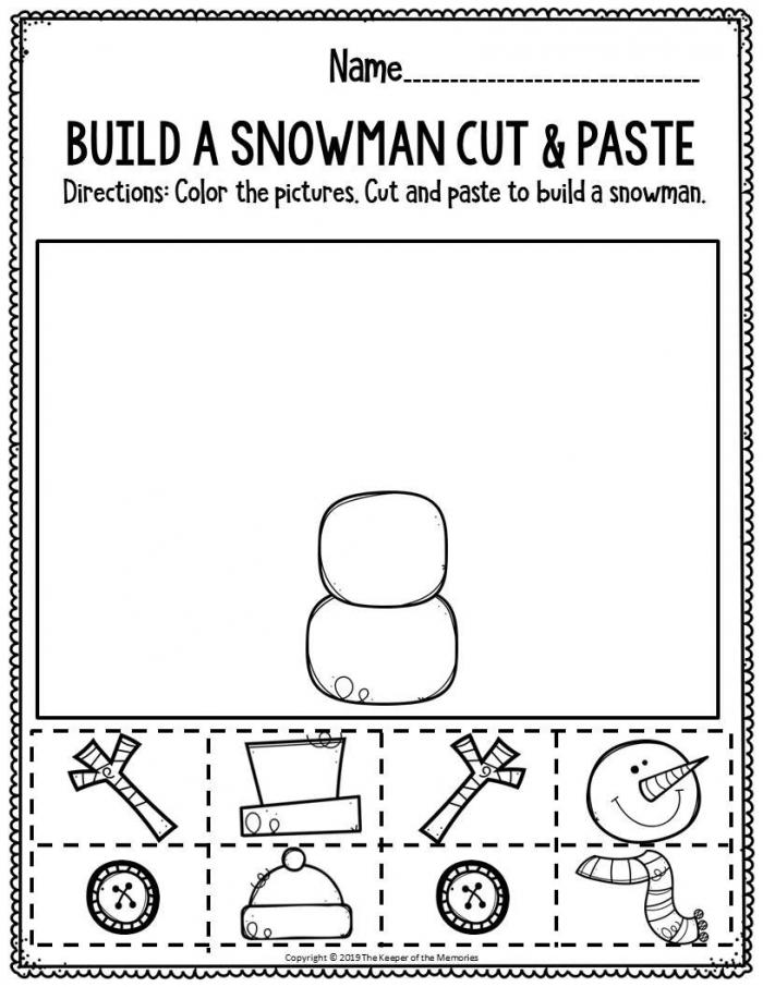 Cutting Circles: Build A Snowman Worksheets | 99Worksheets