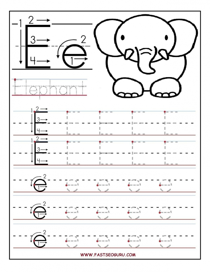 Printable Letter E Tracing Worksheets For Preschooljpg