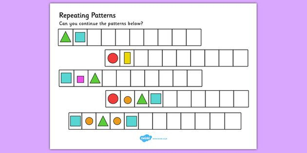 Repeating Pattern Worksheets Shapes And Colours