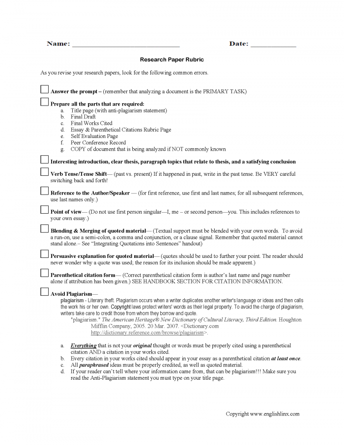 Research Paper Rubric Worksheet