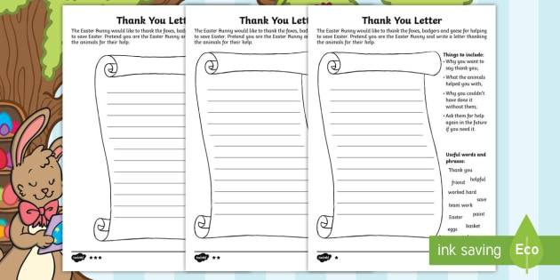 Writing A Thank You Letter from www.99worksheets.com