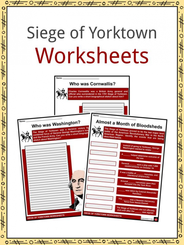 Siege Of Yorktown Facts  Worksheets   March To Virginia For Kids