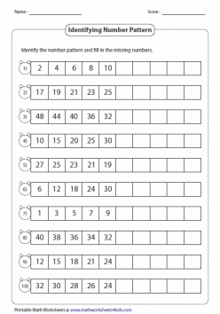 Number Patterns: Fill In The Number