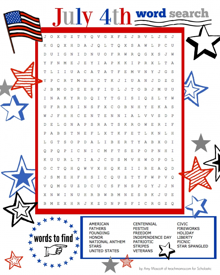 Superstar Celebration July Th Word Search Printable