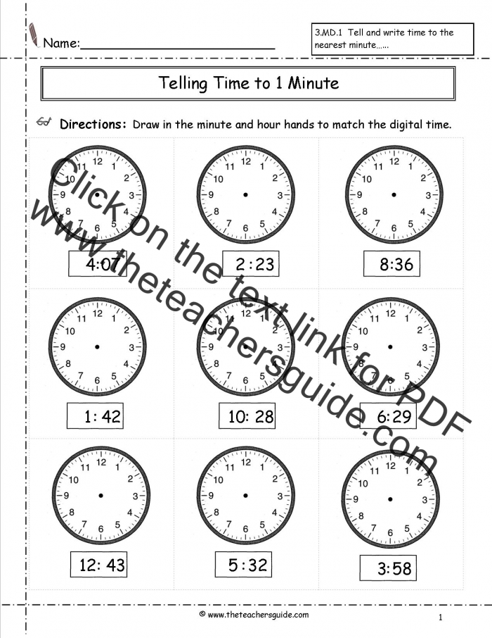 Telling Time Worksheets From The Teachers Guide