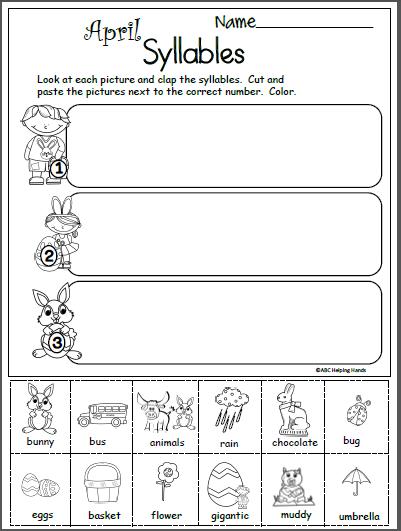 Terrific Free April Syllables Worksheet