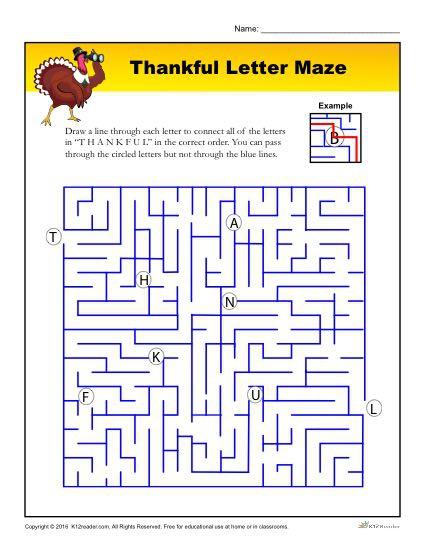 Thankful Letter Maze