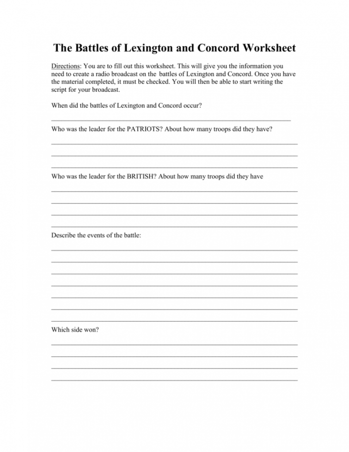The Battles Of Lexington And Concord Worksheet