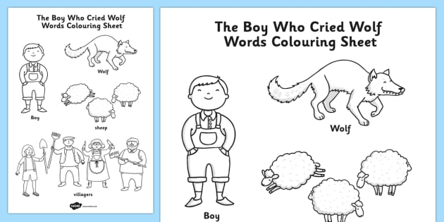 The Boy Who Cried Wolf Words Colouring Sheet Teacher Made