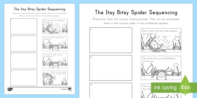 The Itsy Bitsy Spider Nursery Rhyme Sequencing Activity