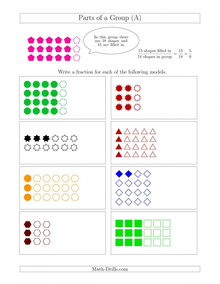 The Parts Of A Group Fraction Models Up To Eighths All Math