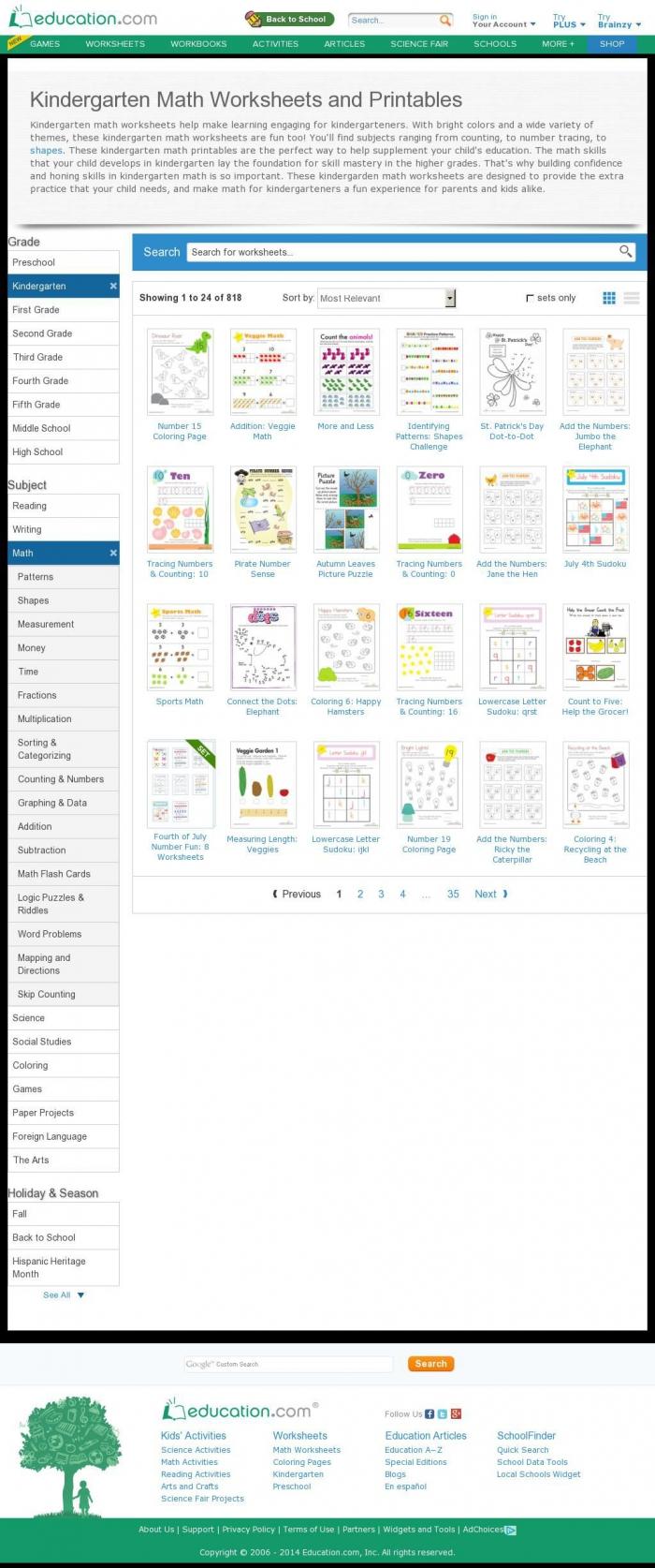 The Website Httpwwweducationcomworksheetskindergartenmath